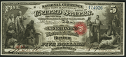 1863 $5 National Bank Notes Red Seal with rays