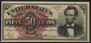 1863 4th Issue 50 Cent Note Large Red Seal