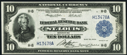 1918 $10 Federal Reserve Bank Note Blue Seal