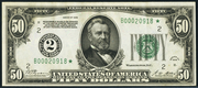 1928 $50 Federal Reserve Note Green Seal