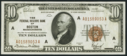 1929 $10 Federal Reserve Bank Note Brown Seal