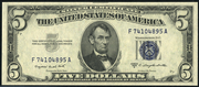 1953B $5 Silver Certificates Blue Seal