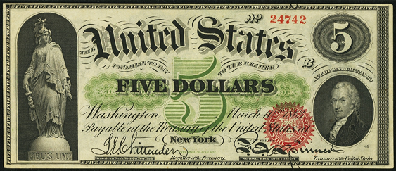 1863 Five Dollar Legal Tender Or United States Note