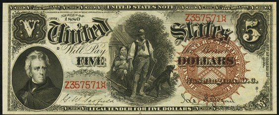 1880 Five Dollar Legal Tender Or United States Note