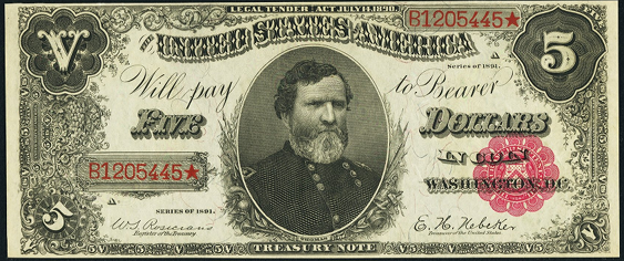 1891 Five Dollar Treasury Note Or Coin Note