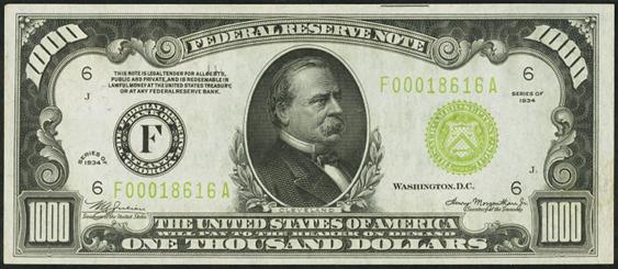 New 10000 Dollar Bill 1934 $1000 Fede...