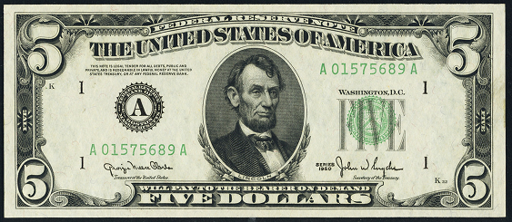 1950c Five Dollar Federal Reserve Note