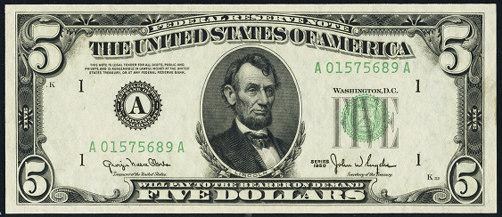 1950d Five Dollar Federal Reserve Note