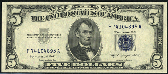 How much is a 1953 5 dollar silver certificate worth
