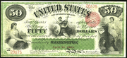 1863 $50 Interest Bearing Note Red Seal with spikes