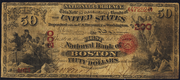 1863 $50 National Bank Notes Red Seal with rays