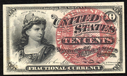 1863 4th Issue 10 Cent Note Large Red Seal