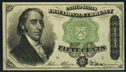 1863 4th Issue 50 Cent Note Green Seal