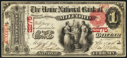 1863 $1 National Bank Notes Red Seal with rays
