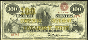 1863 $100 Compound Interest Treasury Note Red Seal with spikes