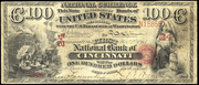 1863 $100 National Bank Notes Red Seal with rays