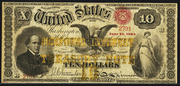1863 $10 Compound Interest Treasury Note Red Seal with spikes