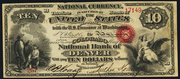 1863 $10 National Bank Notes Red Seal with rays