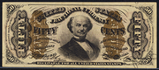 1863 3rd Issue 50 Cent Specimen One Sided Blank