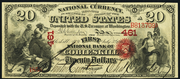 1863 $20 National Bank Notes Red Seal with rays