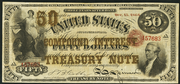 1864 $50 Compound Interest Treasury Note Red Seal with spikes