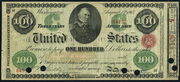1864 $100 Interest Bearing Note Red Seal with spikes