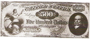 1869 $500 Legal Tender Red Seal with spikes