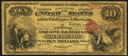 1872 $10 The National Gold Bank Note of California Red Seal
