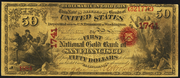 1873 $50 The National Gold Bank Note of California Red Seal