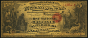 1873 $5 The National Gold Bank Note of California Red Seal