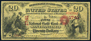 1873 $20 The National Gold Bank Note of California Red Seal