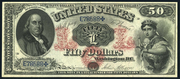 1874 $50 Legal Tender Red Seal with rays