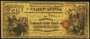 1874 $50 The National Gold Bank Note of California Red Seal