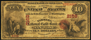 1874 $10 The National Gold Bank Note of California Red Seal