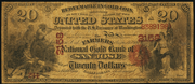 1874 $20 The National Gold Bank Note of California Red Seal