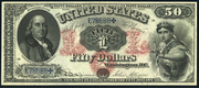 1875 $50 Legal Tender Red Seal with rays