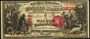 1875 $5 National Bank Notes Red Seal with scallops