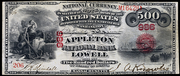 1875 $500 National Bank Notes Red Seal with scallops