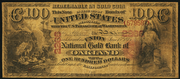 1875 $100 The National Gold Bank Note of California Red Seal