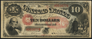 1875 $10 Legal Tender Red Seal with rays