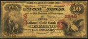 1875 $10 The National Gold Bank Note of California Red Seal