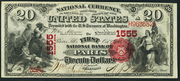 1875 $20 National Bank Notes Red Seal with scallops