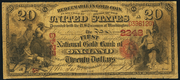 1875 $20 The National Gold Bank Note of California Red Seal