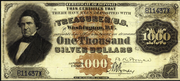 1878 $1000 Silver Certificates Red Seal with Rays