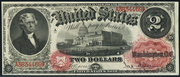 1878 $2 Legal Tender Red Seal with rays