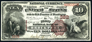 1882 $10 National Bank Notes Brown Seal