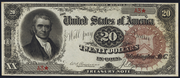 1890 $20 Treasury Note Brown Seal