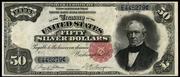 1891 $50 Silver Certificates Red Seal