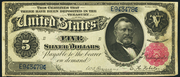 1891 $5 Silver Certificates Red Seal with scallops
