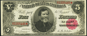 1891 $5 Treasury Note Red Seal